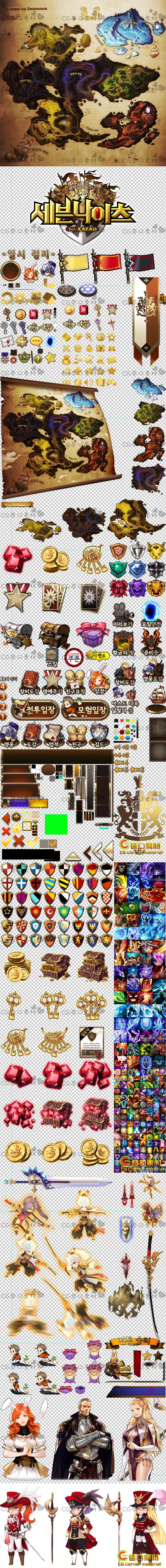 韩国手游 7英雄/七骑士/音效/UI界面全套游戏美术资源Y035-淘宝网全球站