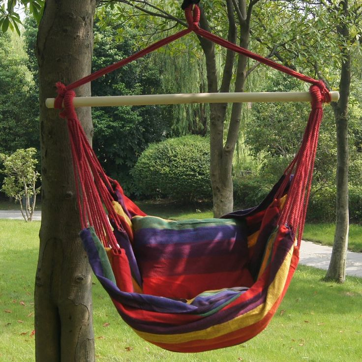 As you settle into the Tropical Palm Stripe Soft Comfort Hanging Hammock Chair, you'll understand what true relaxation is all about! Made of long-lasting, weather-resistant spun polyester. Thick polye