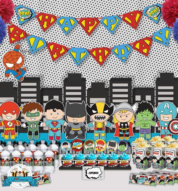 Superhéroes arte Pop superhéroe cumpleaños por LilFacesPrintables, $45.95