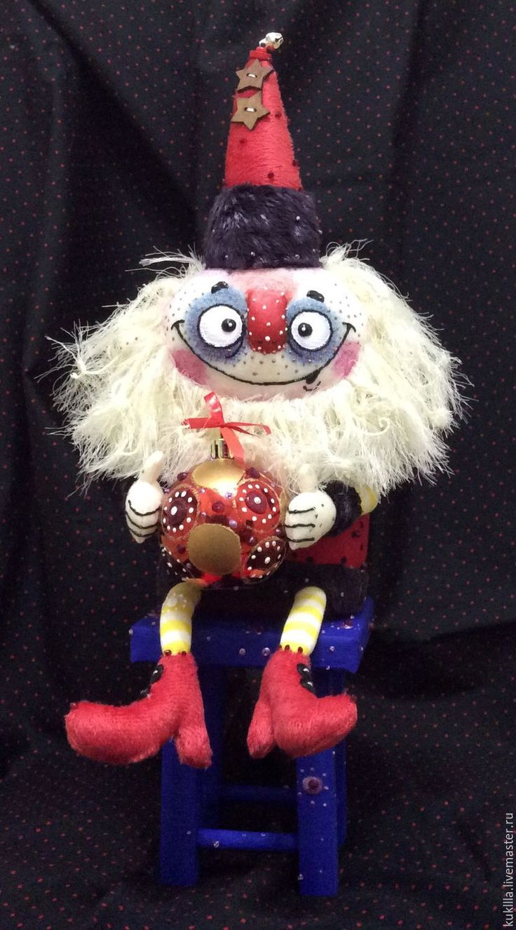 Купить Дед Мороз на табуреточке. - ярко-красный, дед мороз, дедушка мороз, авторская кукла