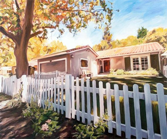 Housewarming Gift Personalized California Wall Art Home Oil Painting on Canvas from Photo myopenstudio.ca