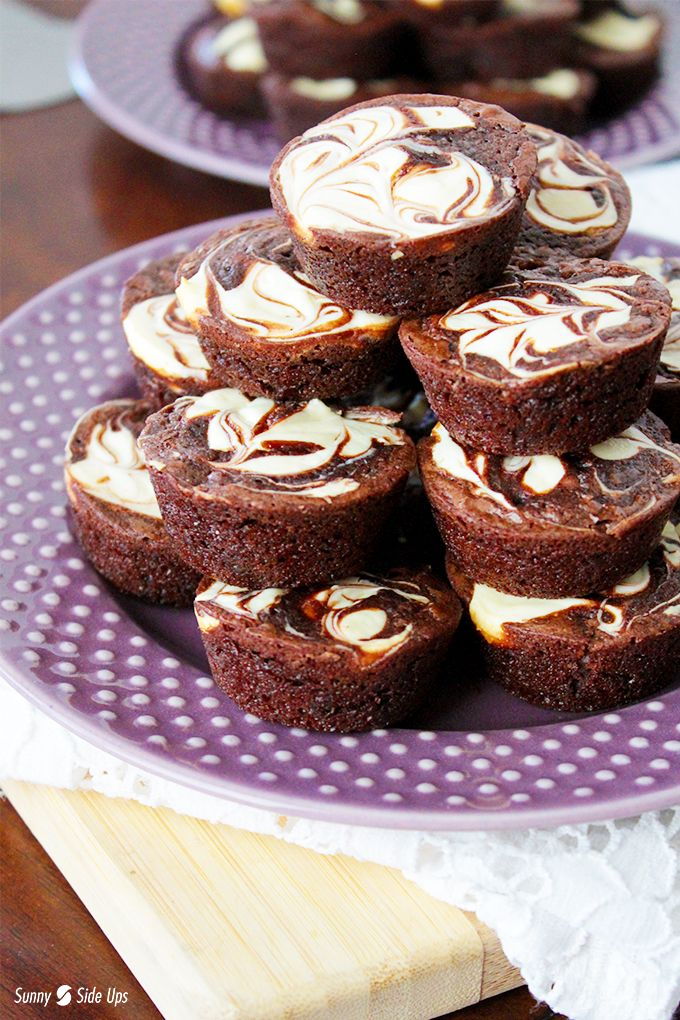 A box mix jump-starts this easy bite-sized cheesecake-swirled brownie bites recipe! Sunnysideups.org