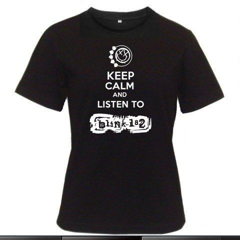 Keep Calm and Listen To Blink 182 Women Black T-Shirt Size S to 3XL