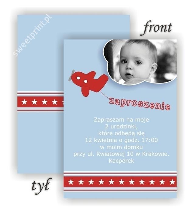Zaproszenie na urodziny Samolocik / Airplane Party Invitation