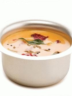 Buttermilk rasam is a 'light', moderately spicy rasam that can be safely consumed even by those with cold or fever for whom raw buttermilk is usually not allowed. It tastes best when drunk as it is, while it can also be served with rice and a spicy curry.