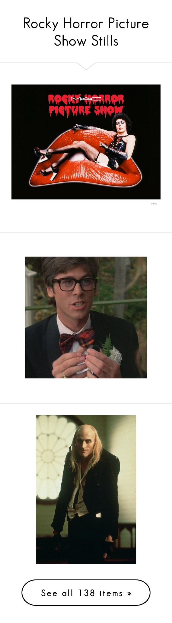 """""""Rocky Horror Picture Show Stills"""" by blood-red-queen ❤ liked on Polyvore featuring mens, costumes, rocky horror picture show costumes, rocky horror picture show halloween costumes, rocky horror costumes, rocky horror halloween costume, rocky horror, people and pictures"""