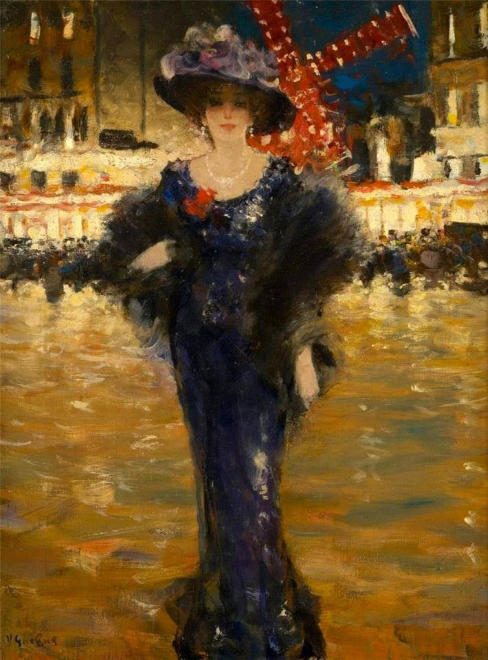 Victor Guerrier (French, 1893-1968) In Front of the Moulin Rouge