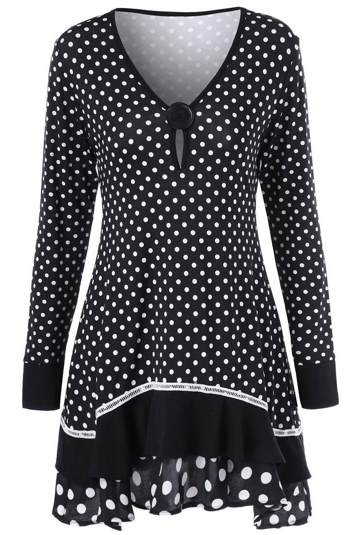 $16.03 Polka Dot Ruffled Longline T-Shirt