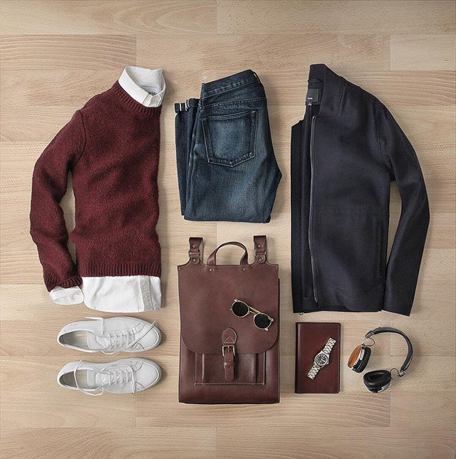 Layered up.  Backpack: @korchmarbags Houston Mocha Backpack Jacket: @vince Raw Edge Wool/Cashmere  Oxford: @corridornyc Sunglasses: @randolph.usa P-3 Shoes: @commonprojects Achilles Low Notebook: @tannergoods  Watch: @hamiltonwatch Seaview Auto Denim: RRL @ralphlauren Sweater: @topman @nordstrommen Headphones: @lstnsound Wireless