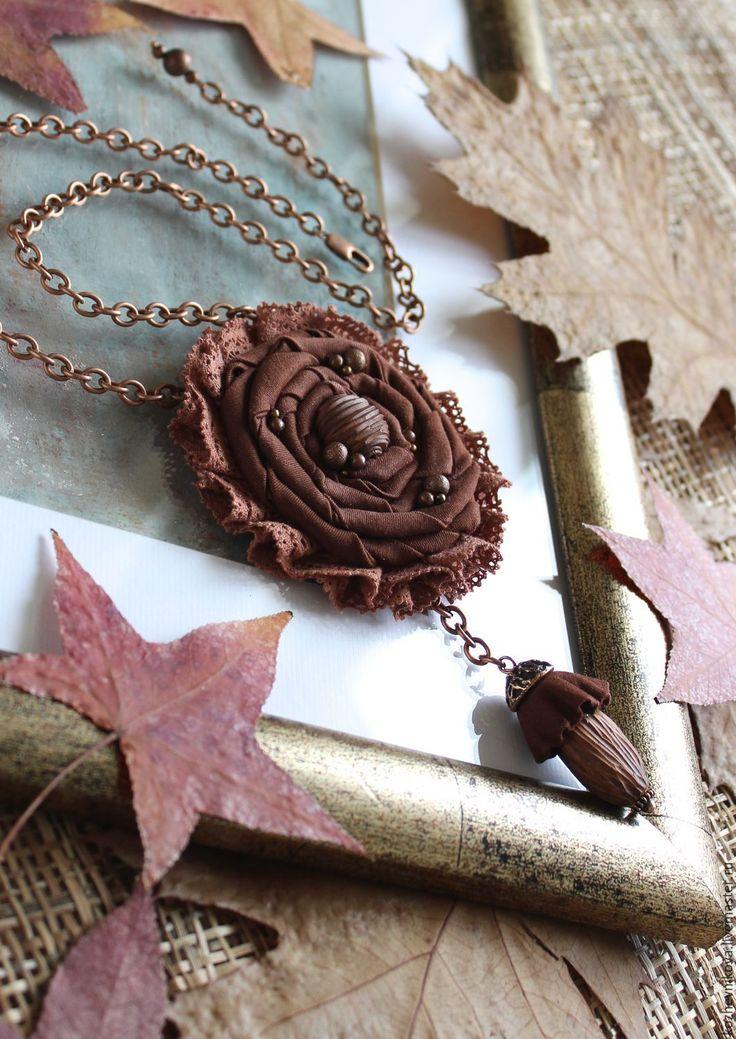 Купить Текстильное колье Терракотовый цветок - Елена Кожевникова, текстильное…