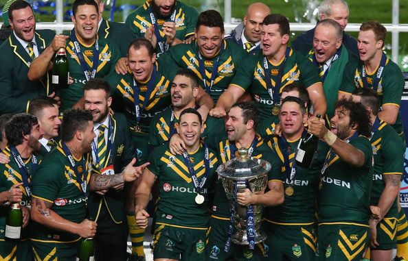 Canberra Raiders forward Josh Papalii celebrates with the Kangaroos after the 2013 Rugby League World Cup Final.