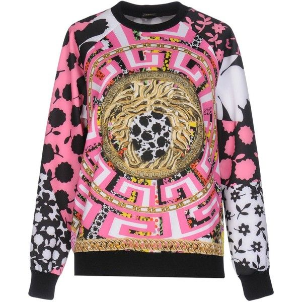 Versace Sweatshirt ($850) ❤ liked on Polyvore featuring tops, hoodies, sweatshirts, black, versace sweatshirt, versace, long sleeve sweatshirts, versace top and long sleeve tops