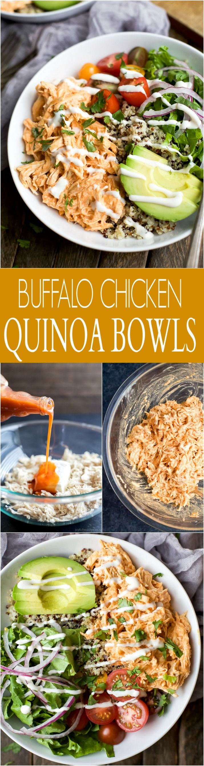 Buffalo Chicken Quinoa Bowls topped with avocado, tomato, shredded buffalo chicken, drizzled with ranch and served on a bed of quinoa. Football food just got a healthy facelift!   joyfulhealthyeats.com #glutenfree