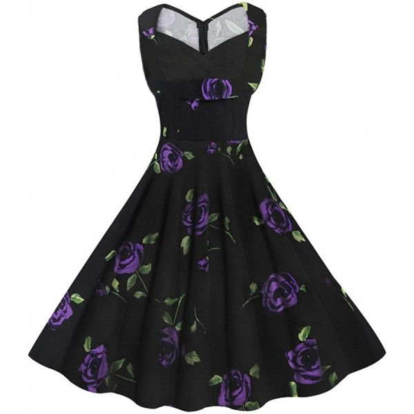 Vestido vintage negro con estampado floral