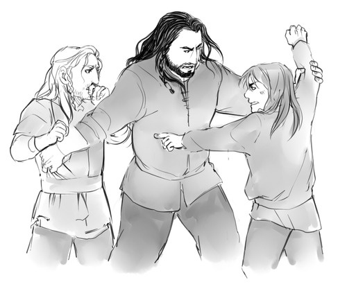 Thorin breaking up a fight between Fili and Kili