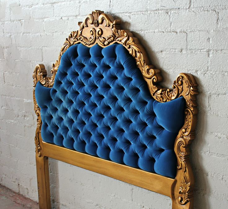 Exquisite Hollywood Regency Deco Royal Blue and Gold Tufted Queen Size Headboard.