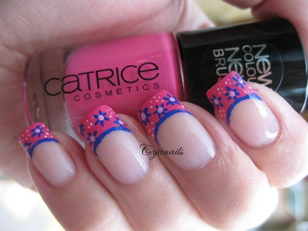 Little retro flowers on french tip - Nail Art Gallery by NAILS Magazine