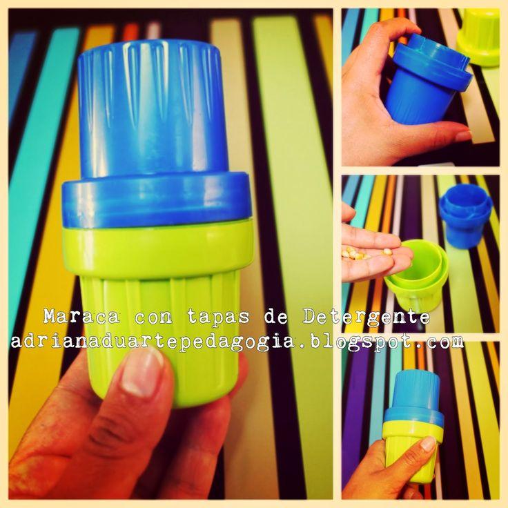 Material pedagógico hecho en casa: Maraca con tapas de Detergente