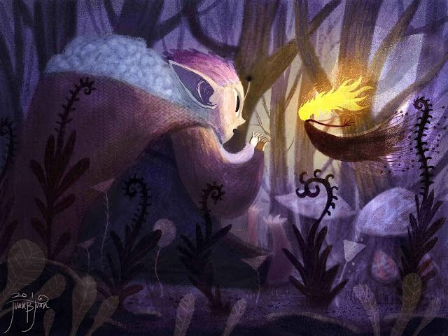 juanbjuan children illustration: snow spirit and fire spirit
