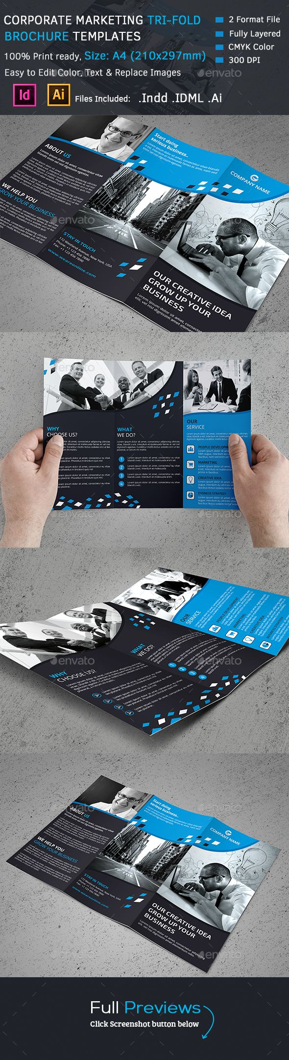 Corporate Tri-Fold Brochure Template #design Download: http://graphicriver.net/item/corporate-trifold-brochure/13082370?ref=ksioks