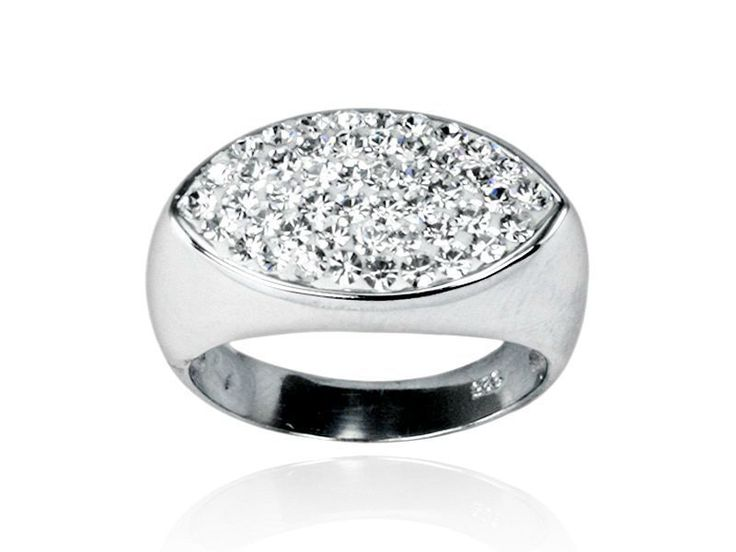 Sterling Silver 925 High Polish Clear CZ Paved Ring Size 8 US P AU