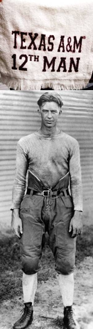 Texas A & M University Aggies football - photo of initial12th man - E. King Gill in 1920/1921.