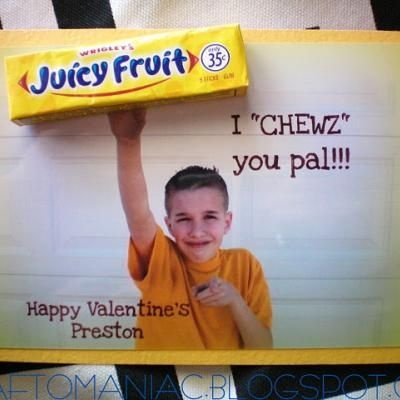 Juicy Fruit Valentine.Valentine Day Ideas, Candies Valentine, Valentine Day Cards, Diy Crafts, Bubbles Gum, Valentine Cards, Crafts Projects, Valentine Ideas, Funny Kids
