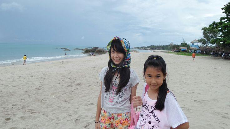 melanie & karina on rambak beach, bangka island, bangka-belitung province, indonesia