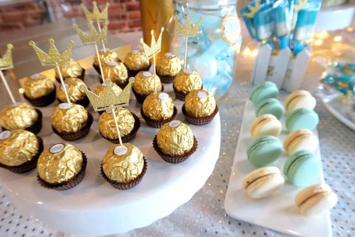 Fererro Rocher chocolates topped with crowns from a Royal Prince First Birthday Party on Kara's Party Ideas | KarasPartyIdeas.com (10)