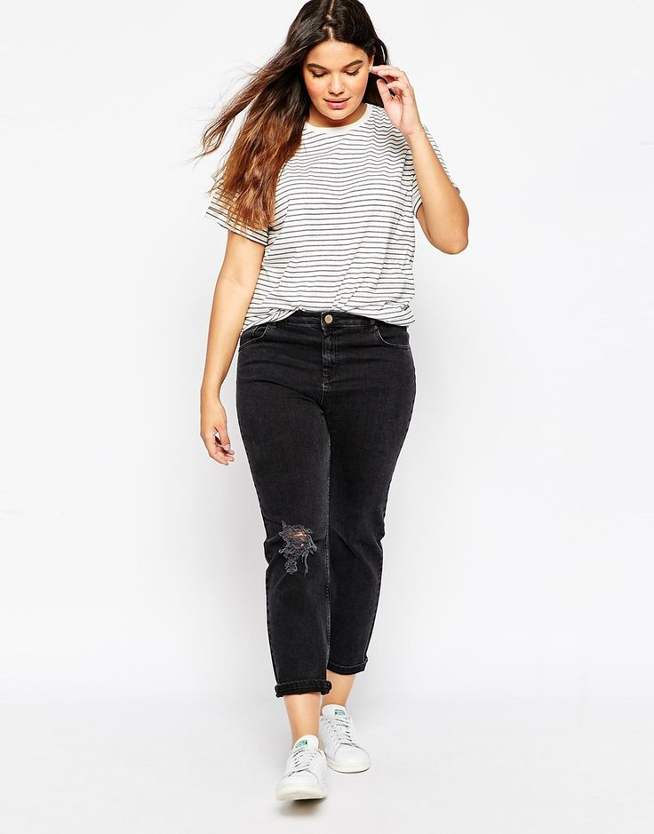 Image 4 of ASOS CURVE The Easy T-Shirt in Stripe 2 Pack