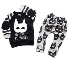 Ropa de niños Sets Patrón Batman Tira Bebé Niños Niñas Suéteres y Pantalones 2 unids conjuntos 2016 Nueva Moda Para Niños Traje ropa