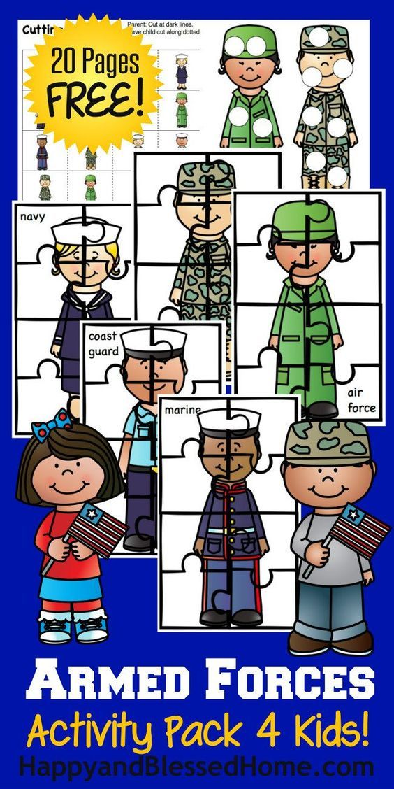 Free Armed Forces Activity Pack for Kids with over 20 Pages of Fun from HappyandBlessedHome.com educational worksheets | free printables | kids activities | preschool learning | kindergarten learning | soldiers | Army | Navy | Air Force | Marines