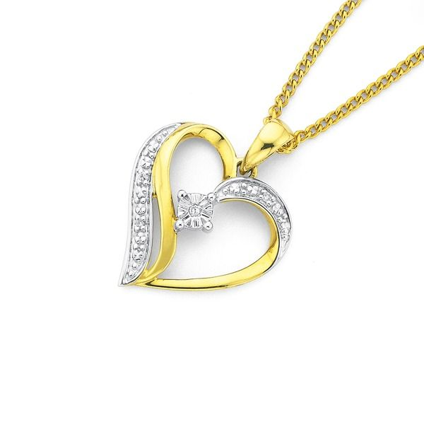 9ct, Diamond Heart Pendant