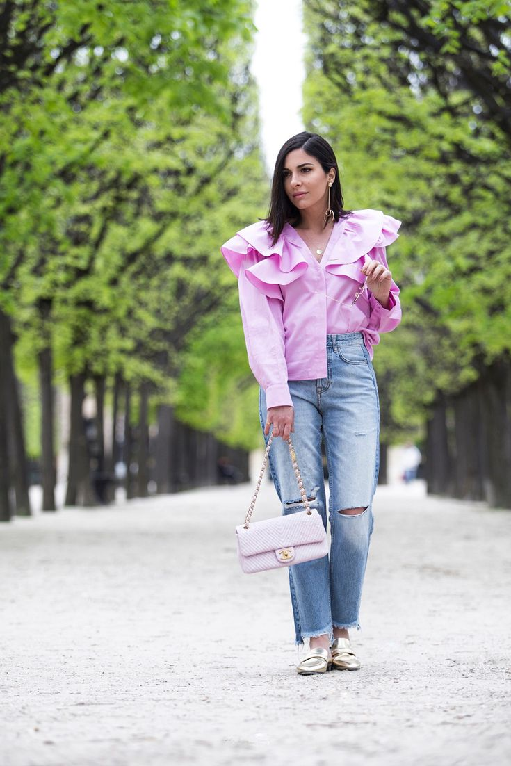 Pink Ruffle Blouse, Jeans