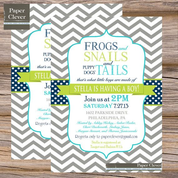 Boys Baby Shower Invitation frogs & snails by paperclever on Etsy