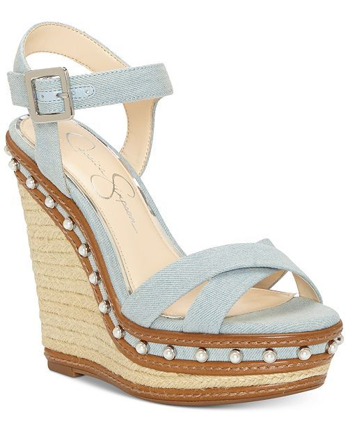 c6b0bf84d12 Casual   Pretty Jessica Simpson Wedge Sandals For Summer - Vintage Blue  Denim Wedges