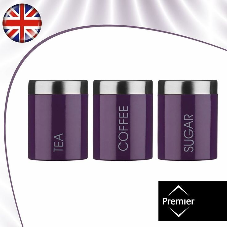 Tea Coffee And Sugar Set, Purple Enamel Kitchen Jars, Satin Stainless Steel  Lids