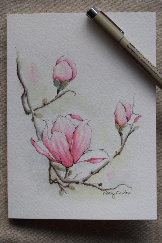 Magnolia 3 flores acuarela tarjeta de impresión