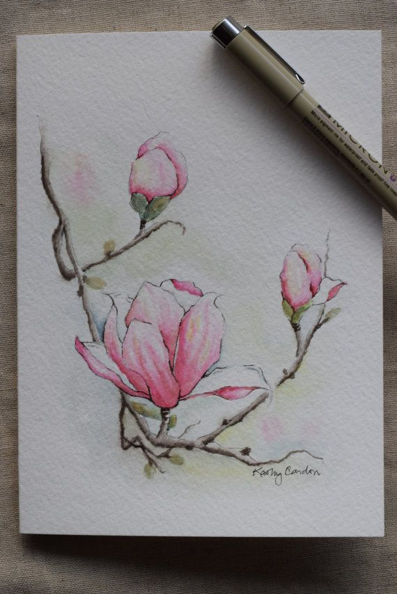 """Pretty magnolia with 3 blossoms!  Prints-- This is a print from the original hand-painted watercolor greeting card on 140 lbs. acid free, Strathmore watercolor paper. All the cards are designed and painted by me. Dimension of the card is 5""""x 6⅞ """". Matching envelope included. Prints are on strathmore watercolor paper.  This card can also easily fit into any frame that fits 5 by 7 paintings, as seen in the fourth picture. (Third picture shows that envelope is included. The third pictures card…"""
