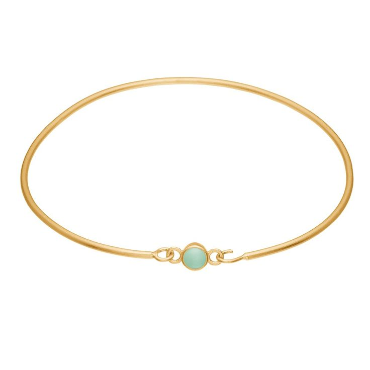 Bracelet, enamel dot, mint green, gold plated sterling silver