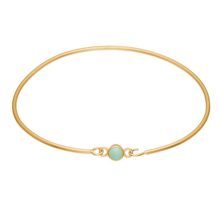 Bracelet, enamel dot, mint green, gold plated sterling silver