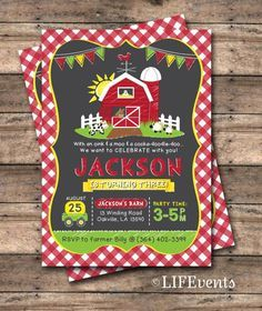 Farm Invitations Old McDonald Invitations Farm Birthday Invitation Country Birthday Party Chalkboard Digital File by LIFEvents