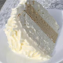 White Almond Wedding Cake *1 (18.25 ounce) package white cake mix *1 cup all-purpose flour *1 cup white sugar *3/4 teaspoon salt *1 1/3 cups water *1 cup sour cream *2 tablespoons vegetable oil *1 teaspoon almond extract *1 teaspoon vanilla extract *4 egg whites