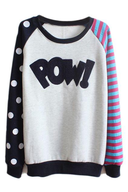 ROMWE   ROMWE Color Block POW! Appliqued Blue Sweatshirt, The Latest Street Fashion