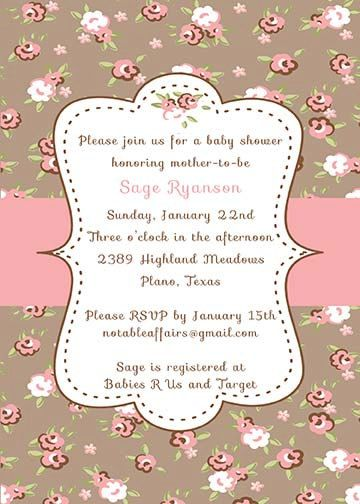 PRINTABLE Shabby Chic Vintage Cottage Baby or Bridal Shower Invitation
