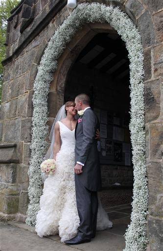 baby's breath arch for reception - partly painted rose gold