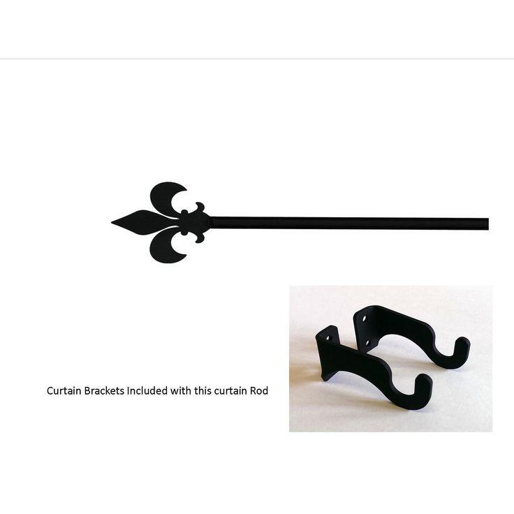 Fleur de lis Wrought Iron Small Curtain Rod (Small Wrought Iron Fleur de lis Curtain Rod), Black