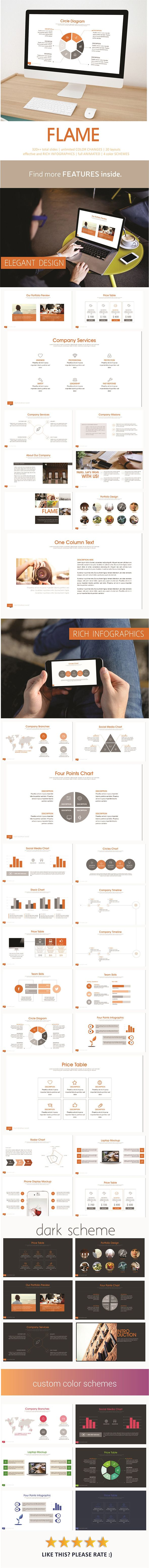 Flame PowerPoint Template #design #slides Download: http://graphicriver.net/item/flame-powerpoint-template/12810354?ref=ksioks