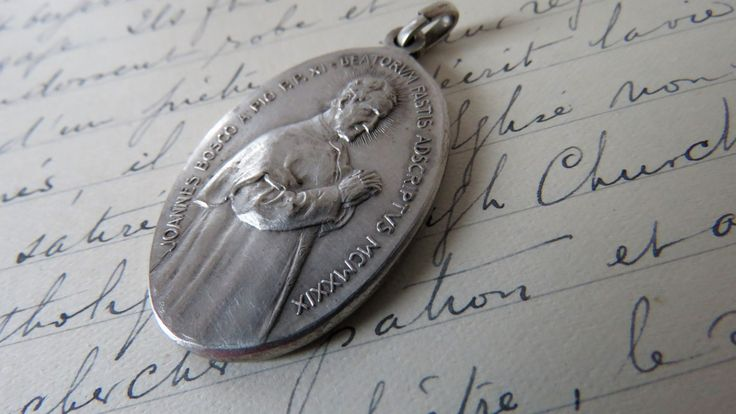 Antique, St Johannes Bosco, Medal, Pendant, SHIPPING INCLUDED by ReligiousAntiquities on Etsy