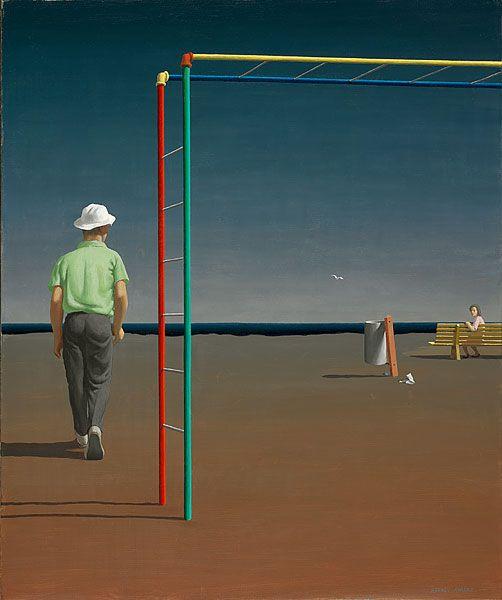 Jeffrey SMART, Playground at Piraeus 1970.  (Adelaide, South Australia, Australia 1921 – Italy 2013 Movements: United States of America and Europe 1948-50, Europe 1962-65, Italy from 1965)